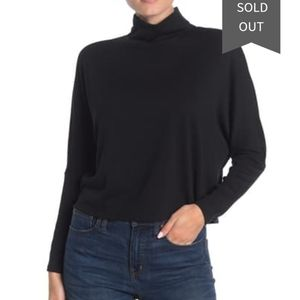 Abound ribbed mock neck dolman sweater in black